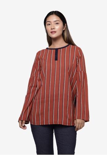 Applemints brown Long Sleeve Flare Top in Stripe - BROWN CD42BAA5BD94FEGS_1