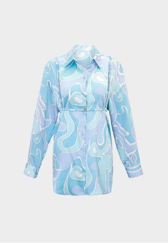 Pomelo blue Wave Print Long Sleeve Shirt - Blue A3BF4AA76F8DF5GS_1