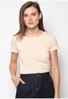 Short-sleeve Basic Tee with Printed Neck Attachment and Inside