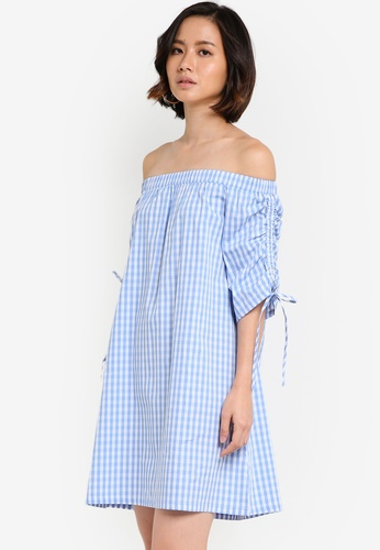 ZALORA blue Off The Shoulder Drawstring Dress E827DAA622E76FGS_1