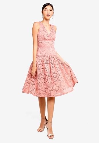 Little Mistress pink Apricot Lace Panel Dress D606BAA485D842GS_1