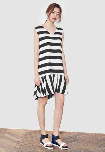 荷esprit台灣網頁葉下巴條紋無袖連身裙, 服飾, 洋裝