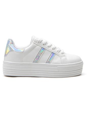 Crystal Korea Fashion 銀色 韓國製新款百搭厚底休閒鞋 97BB4SH5F86043GS_1