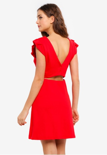 UniqTee red Open Back Dress with Ruffle Sleeves 4D864AA3EDF6BFGS_1