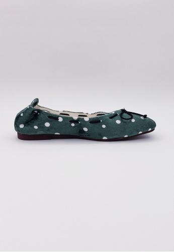 HERME MONY green Japanese Velvet Flat Shoes 56CAESHA5FB9F9GS_1