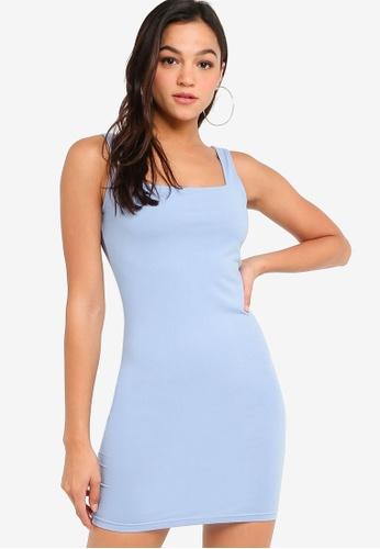 ZALORA YOUNG blue Square Neck Bodycon Dress C74DDAA10FE5BDGS_1