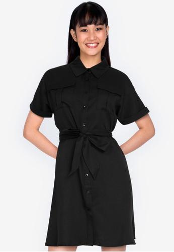 ZALORA BASICS black Shirt Dress with Tie 3C5FFAA07820FAGS_1