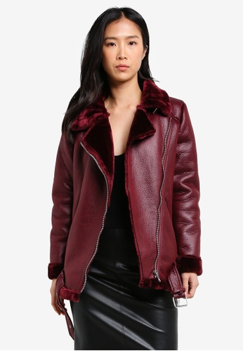 ONLY red Dia Bonded Faux Leather Biker Jacket ON573AA0SEEQMY_1