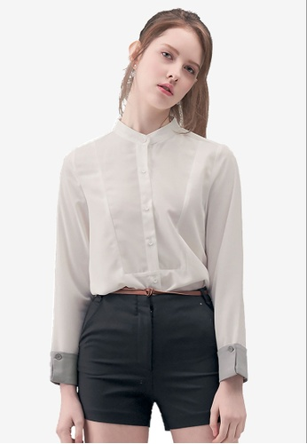 Kodz white Mandarin Collar Buttoned Shirt E9A76AA377CFD6GS_1