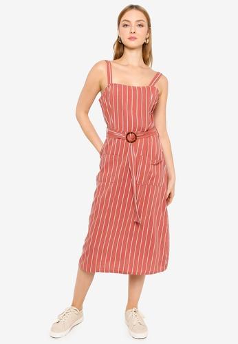 Brave Soul red Self Fabric Belt Dress 56927AA124E236GS_1
