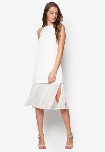 細褶層次及膝esprit服飾連身裙, 服飾, 洋裝