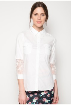 Button Down Top with Lace Sleeve Detail