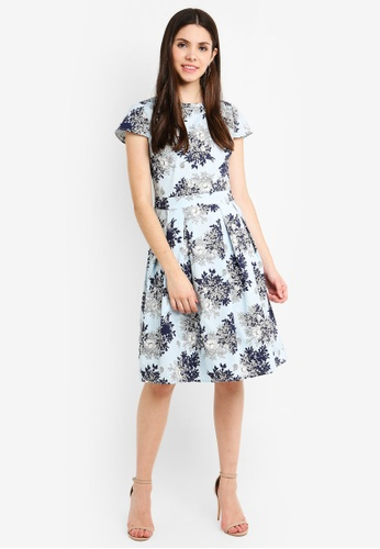 ef590e7d729ca7 Buy Dorothy Perkins Blue Floral Cotton Fit And Flare | ZALORA HK