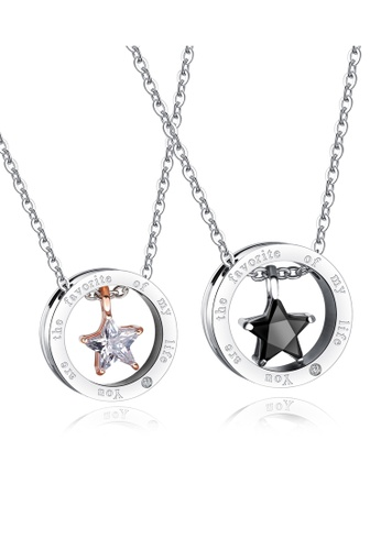 Trendyshop black and silver and gold Star Couples Pendant Necklace 1 Set 2A743AC1CDAD6BGS_1