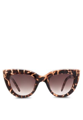 CARMEN 印花貓眼粗框太陽眼鏡, 飾品配件zalora 包包評價, 飾品配件