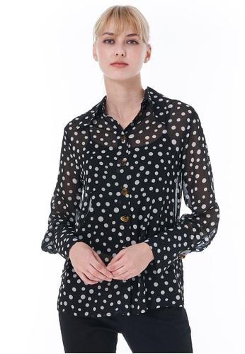 Sisley black Printed Shirt 784E1AA2E4AC84GS_1
