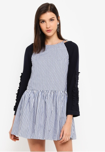 Hopeshow blue Knitted Sweater Dress Set D9B9DAAE059421GS_1