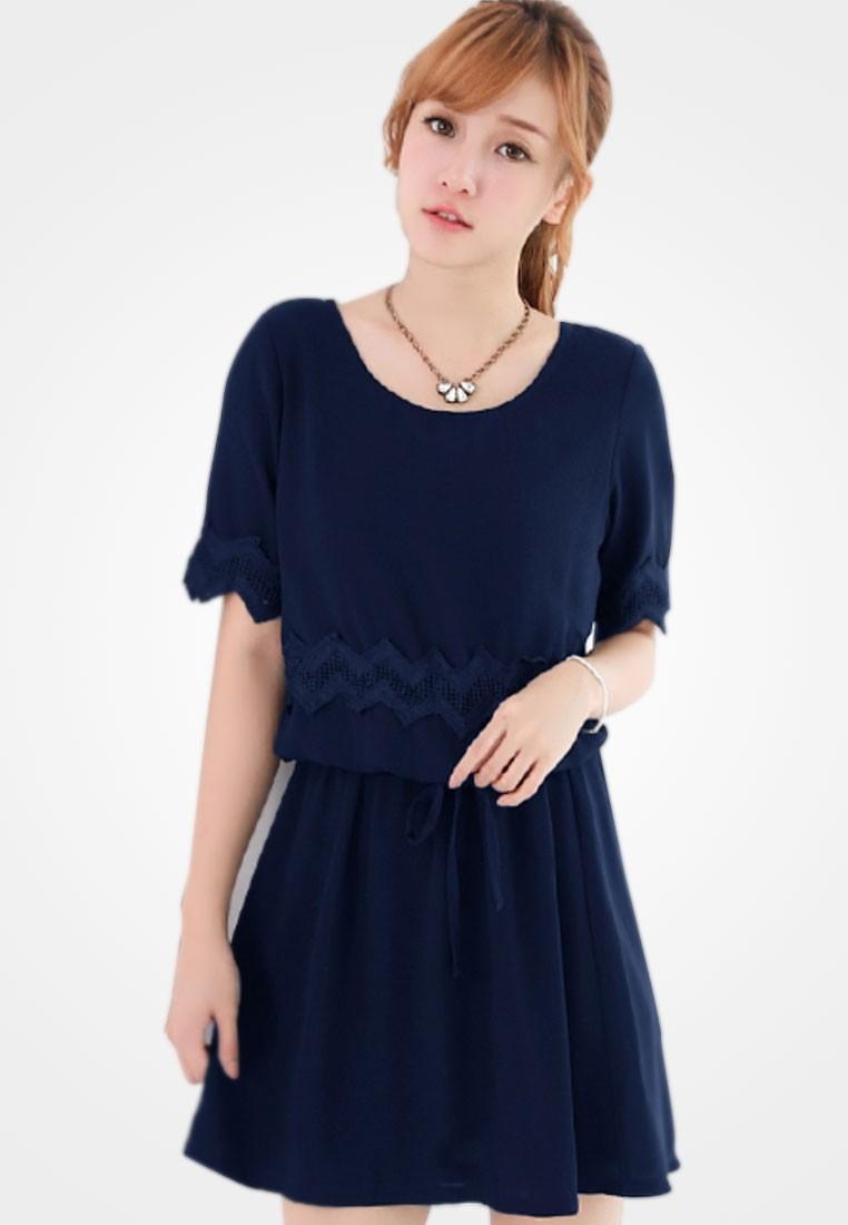 Elegant Grace Drawstring Dress