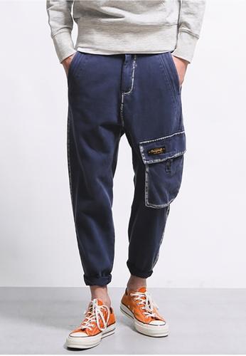 hk-ehunter navy Men's Raw Edge Side Pocket Pants 65587AAC2FD255GS_1
