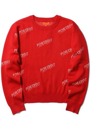tout à coup red Portoit intarsia sweater F746CAAD0F79AFGS_1