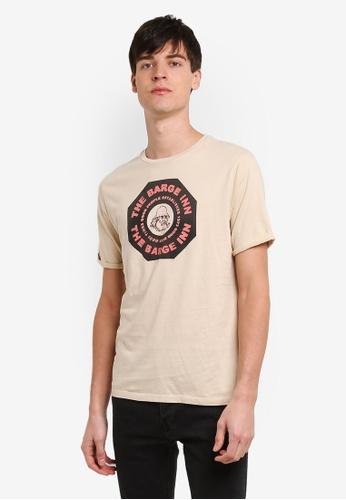 Topman beige Topman Design Beige Barge T-Shirt TO413AA0RXUSMY_1