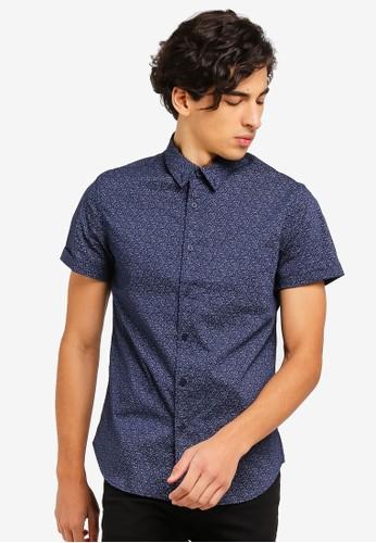 Electro Denim Lab blue Printed Short Sleeve Button Down Shirt 25AE8AABCBB1BFGS_1