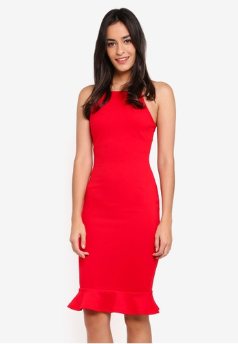 MISSGUIDED red Scuba Square Neck Frill Hem Midi Dress 97C2BAAB88A73BGS_1