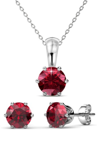 Her Jewellery red Birth Stone Set (January) - Made with premium grade crystals from Austria 6541CAC63DAC25GS_1
