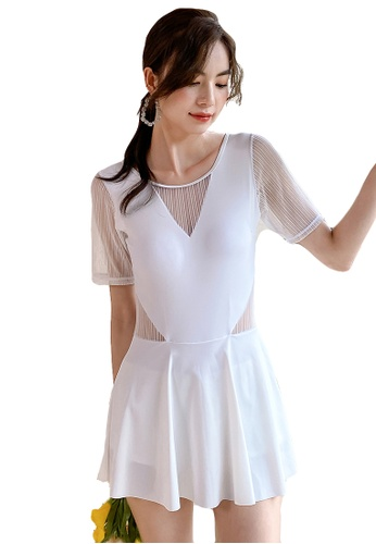 A-IN GIRLS white Sexy Gauze One-Piece Swimsuit 9F8BAUS81323ADGS_1