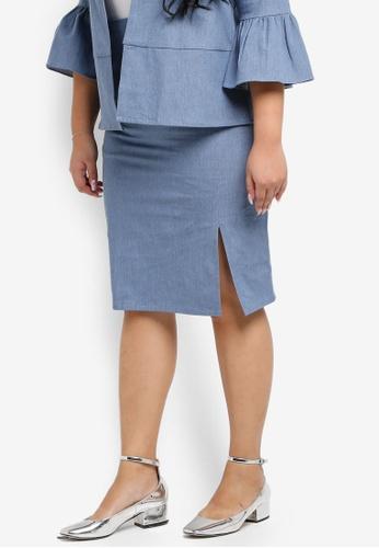 Ex'otico blue Plus Size Pencil Skirt With Slit EX373AA0SL8SMY_1