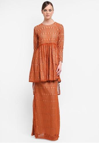 Kree for ZALORA orange Rya Assymetrical Long Peplum Kurung KR498AA0STGAMY_1
