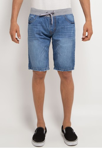 Denim Addict blue Short Pants With Rib F735AAA89268E8GS_1