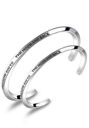 Trendyshop silver Open Arc Couple Bangle Set 569CFACF5F1F57GS_1