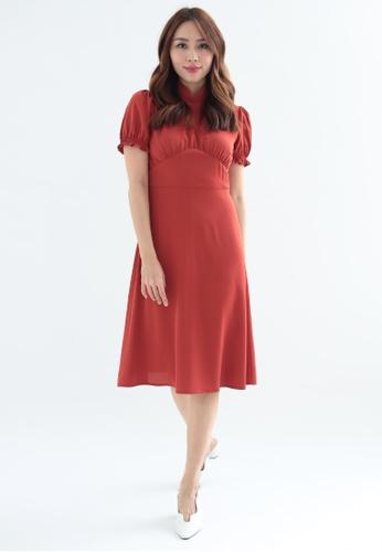 Love Knot red Camellia Puff Sleeves Qipao Cheongsam Dress (Terracotta) EE158AA0B7EE84GS_1