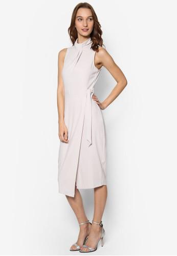 繫帶高領腰帶連身裙, 服esprit outlet hong kong飾, 洋裝