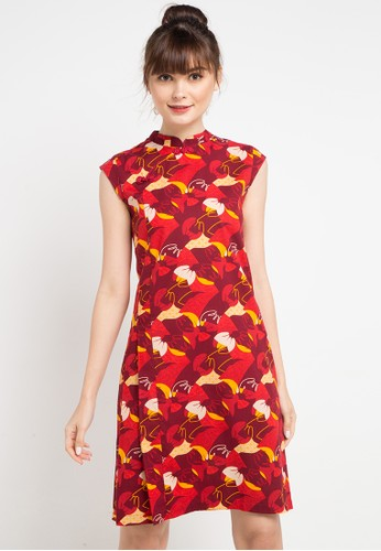 Batik Solo red and multi Short Sleeve Cotton Print Dress 84C3EAA768C51AGS_1