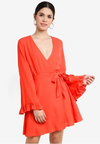 Glamorous orange Textured Wrap Mini Dress BB038AA4CEB573GS_1
