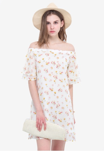 Kodz white Floral Off Shoulder Dress E424DAAE87A11BGS_1
