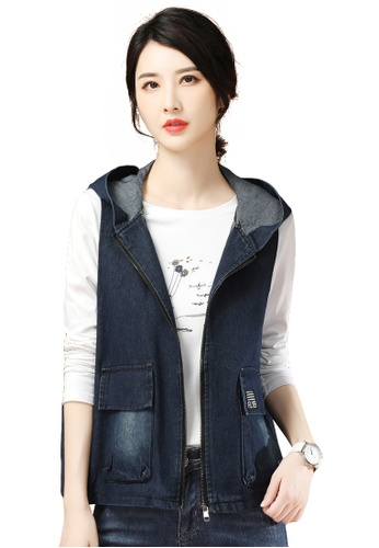 A-IN GIRLS navy All-Match Hooded Vest Denim Jacket BF4CEAAFE39B6DGS_1