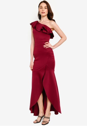 Lipsy red One Shoulder Ruffle Evening Dress B9174AAB46F36FGS_1