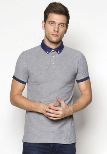 Private Stitch grey Polo shirt with Button Down Collar with Check Detail PR777AA54TWNMY_1