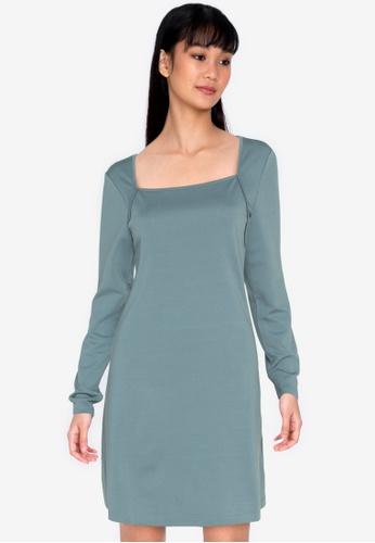 ZALORA BASICS blue Square Neck Mini Dress 8EE3FAA59B6825GS_1
