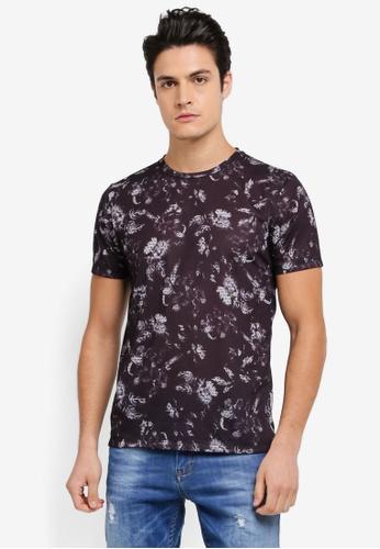 Burton Menswear London black All Over Print Geo Floral Jersey Tee BU964AA0SWLZMY_1