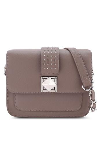 Buy Dorothy Perkins Mushroom Pyramid Crossbody Bag   ZALORA HK 762401bdd9