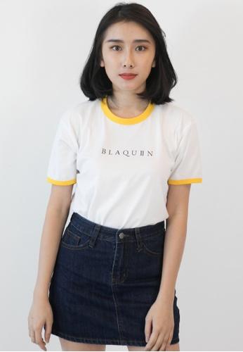 OHNII white BLAQUIIN LOGO RINGER TEE (WH/YL) 526D5AAA35AB2BGS_1
