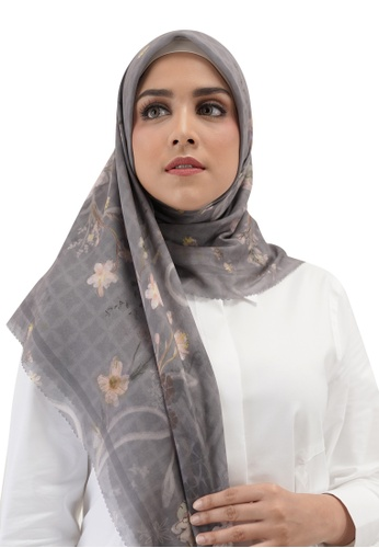 Buttonscarves 灰色 Buttonscarves Sofya Voile Square Poppy 21B09AAD6159A2GS_1