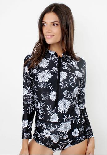 Shapes and Curves black Ocean Breeze Floral Rashguard Onepiece Swimsuit SH408US79NIEPH_1