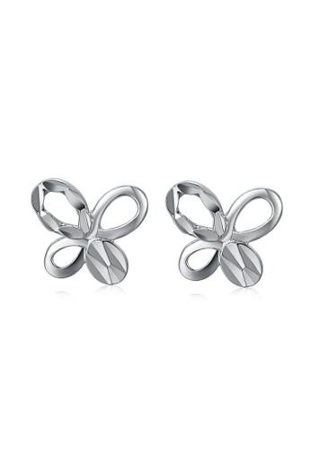 MaBelle silver 14K White Gold Butterfly Stud Earrings 7CB6EAC7B2F7DAGS_1