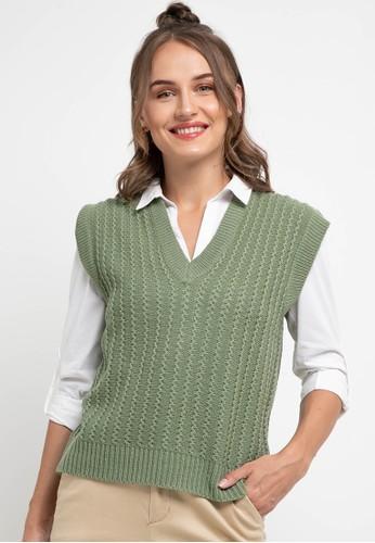 Peponi green Vneck Overset Vest FF645AA7DAAC64GS_1