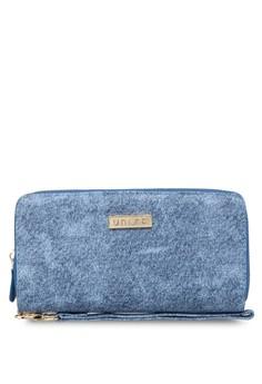 Duo-Tone Jeans Effect Ladies Zip-Up Clutch Wallet